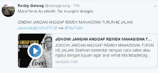 ROCKY GERUNG: JOKOWI JANGAN ANGGAP REMEH MAHASISWA TURUN KEJALAN