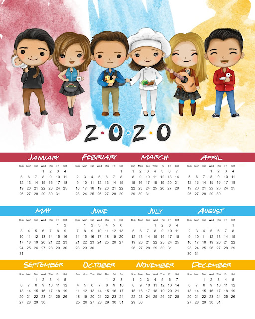 Friends: Calendario 2020 para Imprimir Gratis.
