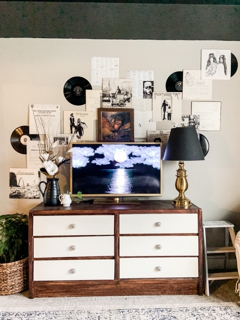 favorite record sleeves hung on wall