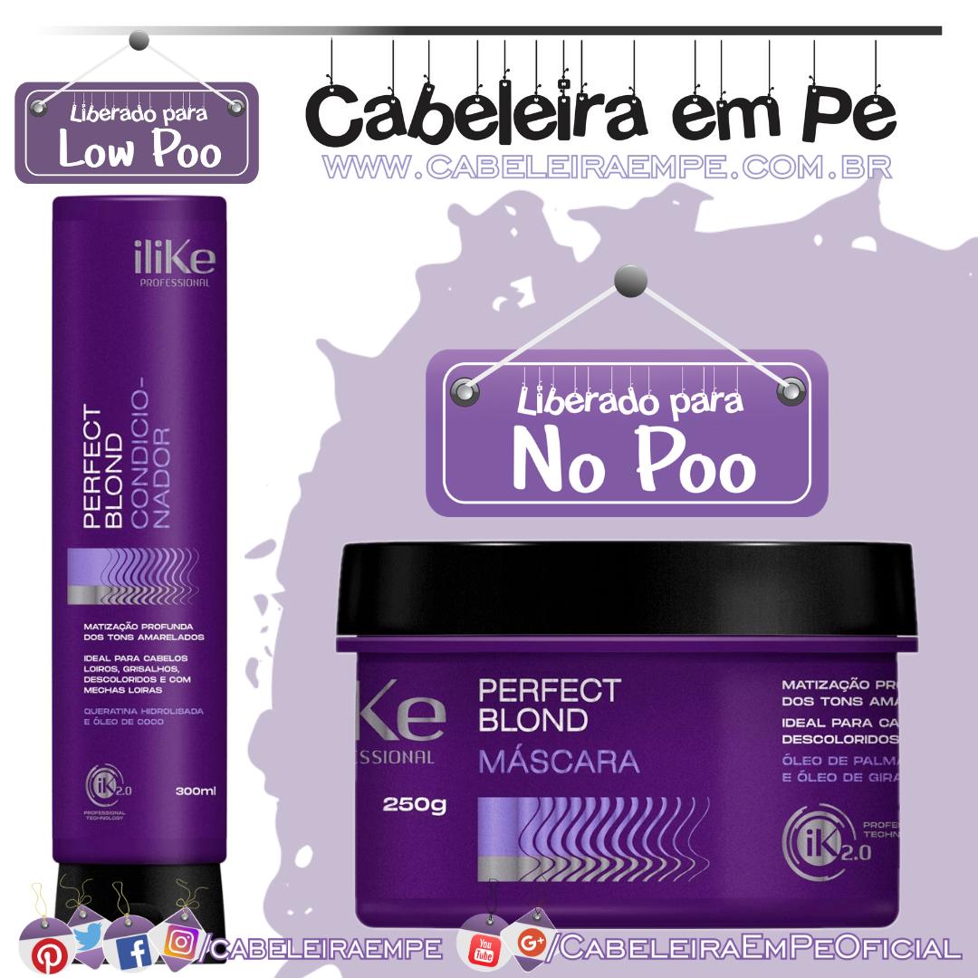 Ingredientes Condicionador (Low Poo) e Máscara (No Poo) Perfect Blond - Ilike
