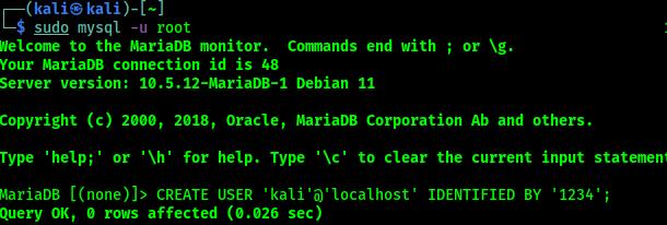Crear usuario en mysql Kali Linux