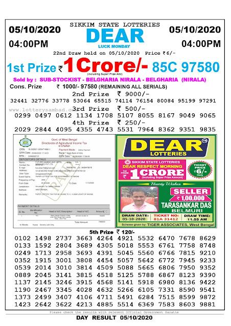 Lottery Sambad Today 05.10.2020 Dear Luck Monday 4:00 pm