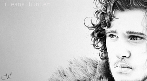 11-Kit-Harington-as-Jon-Snow-Game-of-Thrones-Ileana-Hunter-Celebrity-Black-and-White-Stylish-Drawing-Portraits-www-designstack-co