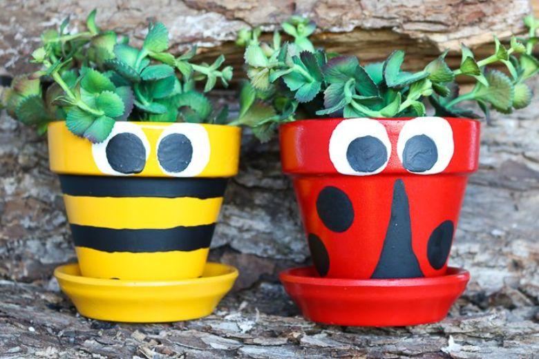 bee and ladybug flower pot craft