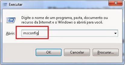 msconfig serviços de inicialização