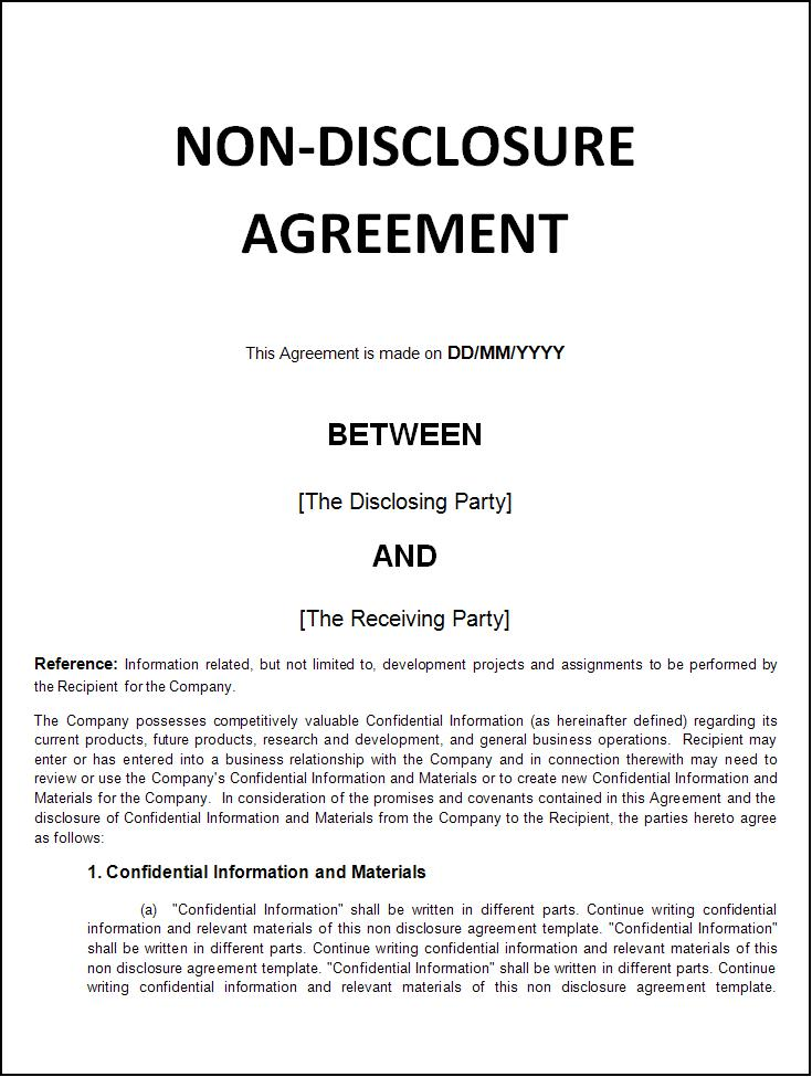 Nda Form Template. nda agreement template non disclosure agreement ...