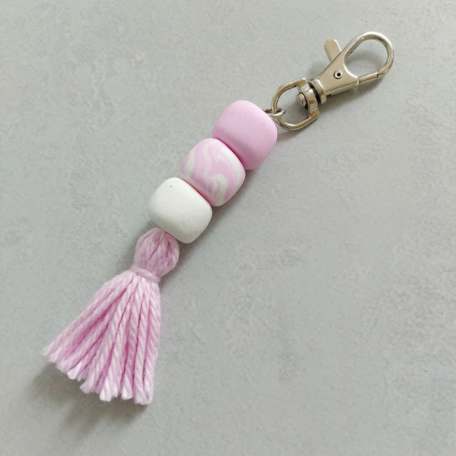 Cute fimo bead keyring with tassel