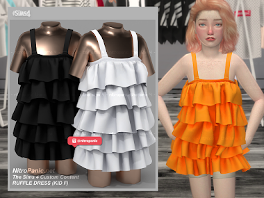 RUFFLE DRESS KID F for The Sims 4
