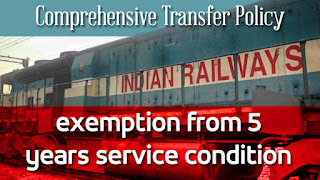 Comprehensive Transfer Policy – Exemption from 5 years service condition – Indian Railways – NFIR