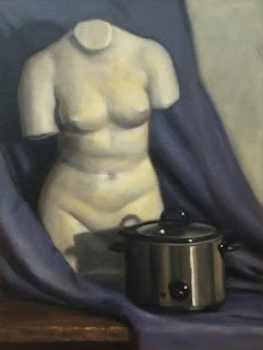 Still life oil painting of a female torso plaster cast beside a slow cooker, with a blue drape as a backdrop.