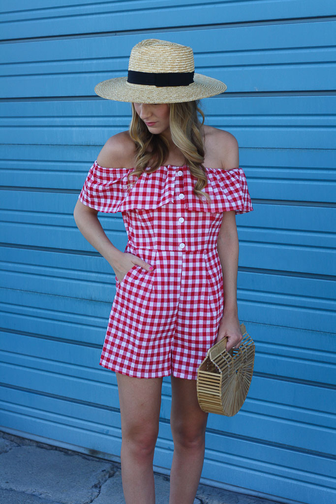A gingham romper for summer