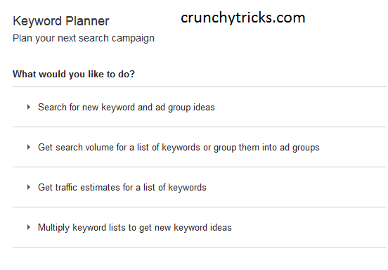 Keyword Planner Four Tools