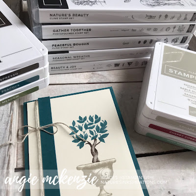 By Angie McKenzie for 3rd Thursdays Blog Hop; Click READ or VISIT to go to my blog for details! Featuring the Beauty & Joy, Peaceful Boughs, Nature's Beauty, Seasonal Wreaths and Gather Together Stamp Sets from the Stampin' Up! 2019 Holiday Catalog;  #stampinup #fallinspiration  #naturesinkspirations #2019holidaycatalog #peacefulboughsstampset #beauty&joystampset #gathertogetherstampset #naturesbeautystampset #seasonalwreathsstampset