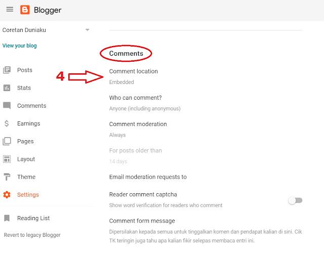 setting blogger dashboard