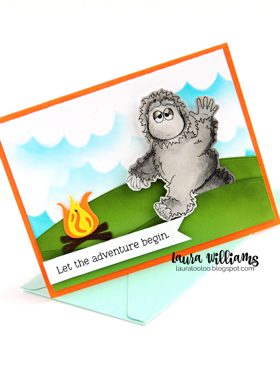 Make a summer Bigfoot themed handmade card with the Camping With Bigfoot stamp set from Impression Obsession. Visit my blog to see ideas with this stamp set and more!