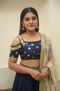 Niveda Thomas in Lovely Blue Cold Shoulder Ghagra Choli Transparent Chunni ~ Exclusive Celebrities Galleries 030