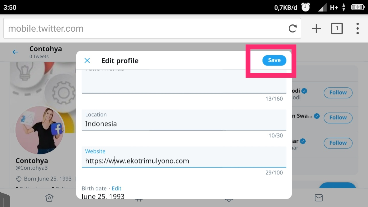 cara membuat twitter for iphone di android