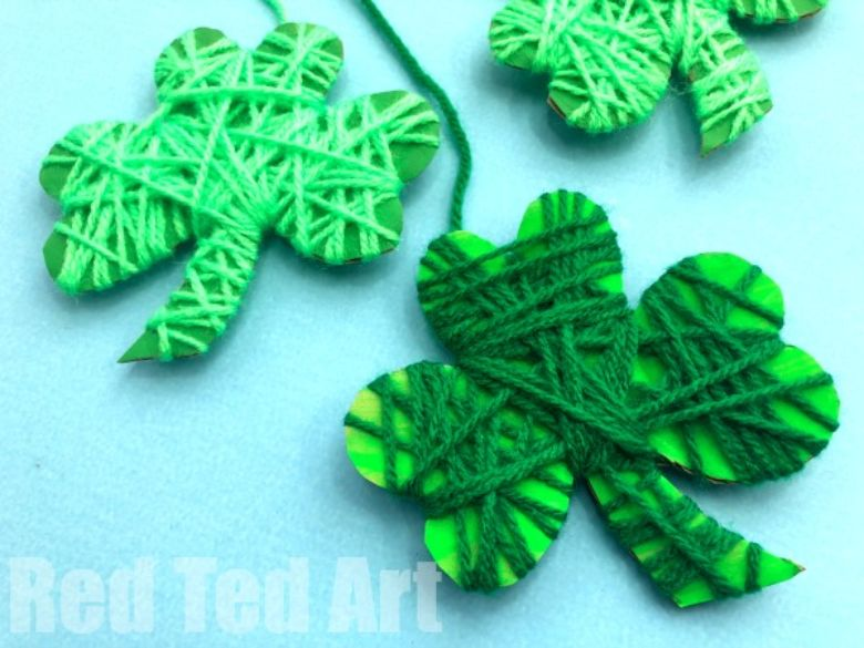 St Patricks day crafts for preschoolers - yarn wrapped shamrock craft