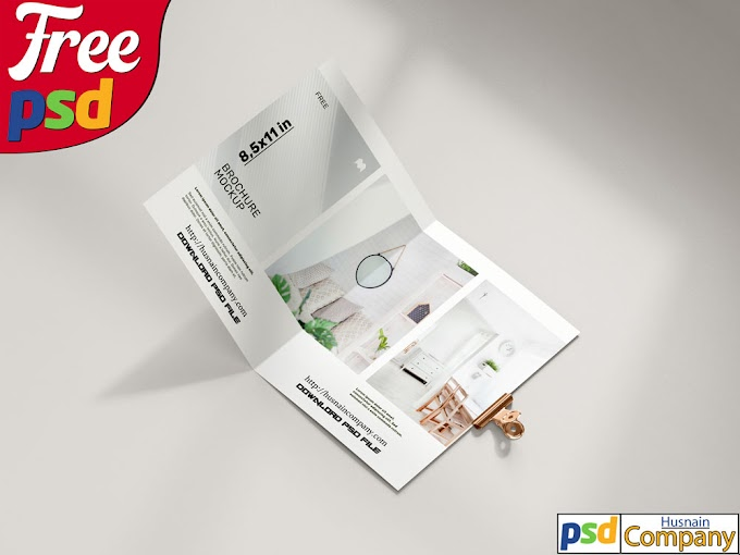 Download Free Folded Brochure PSD Mockup  #2
