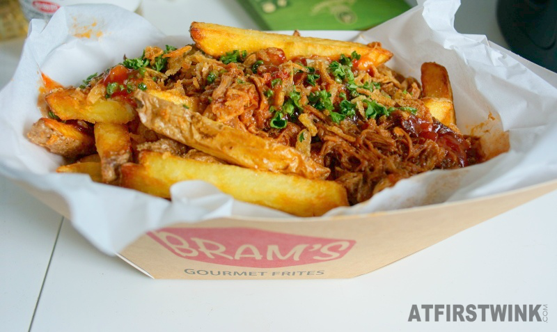 Bram's Gourmet Frites Pulled Pork BBQ Stew wide cut fries with skin fresh parshley