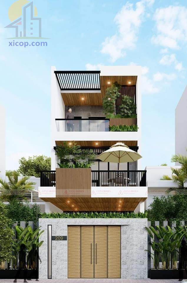 Mẫu nhà đẹp 3 tầng hiện đại 4m, 5m, biệt thự, nhà ống