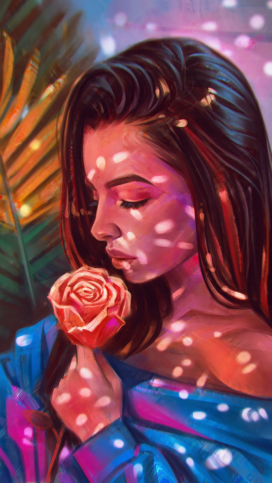 girl holding rose drawing wallpaper