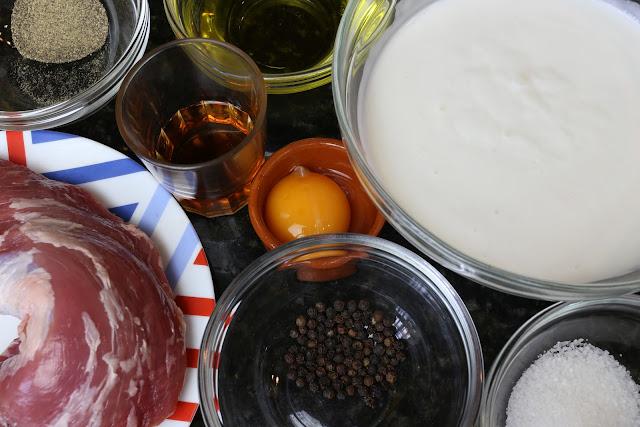 Ingredientes para solomillo de cerdo a la pimienta negra