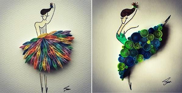 paper quilling art by Sena Runa