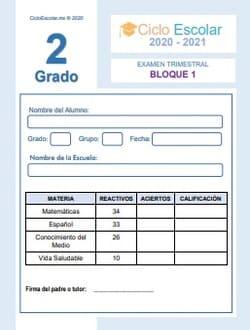 Examen Trimestral Bloque 1 Segundo grado 2020-2021