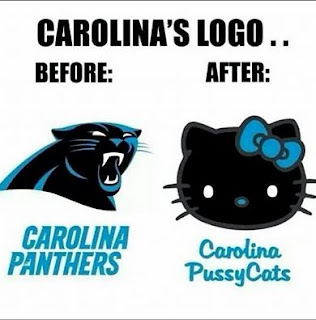 carolina's logo... before vs after Carolina Phanters. Carolina PussyCats