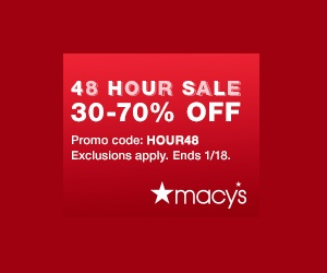 48 Hour Macys Sale with Coupon Code HOUR48