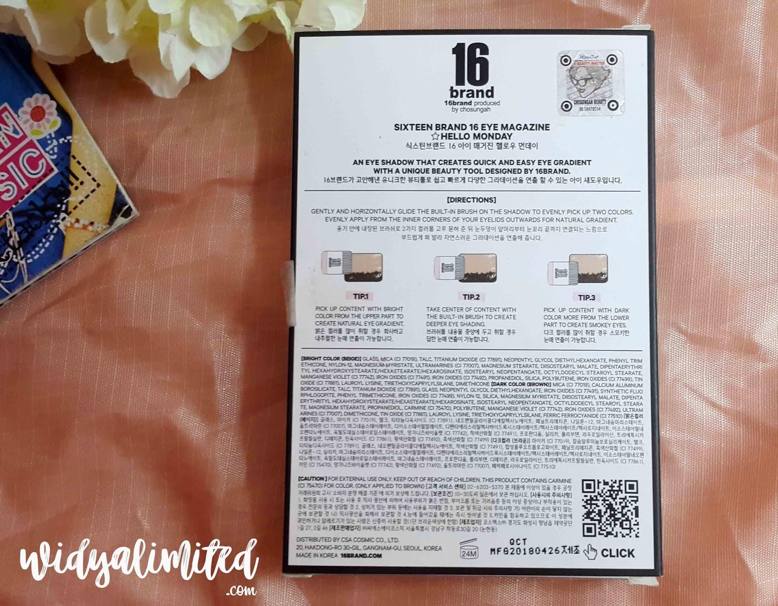 Honest Review 16 Brand Sixteen Eye Magazine Shadow Ada Translate Nya Nih Gengs Jadi Bahasa Korea Hangul Inggrisnya Mantaabs Selain Itu Juga Tips Cara Penggunaannya