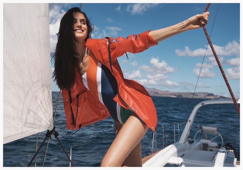 Wearing stripes, Blanca Padilla poses for Nautica spring-summer 2020 campaign