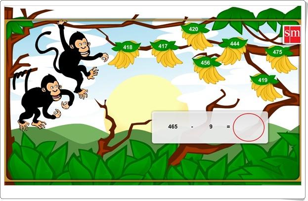 """""""Cálculo mental restando con los monos"""" (Juego de Matemáticas de Primaria)"""