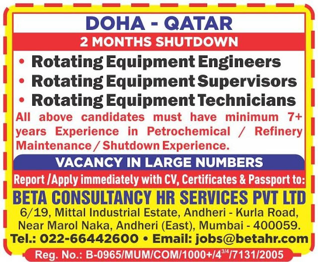 Qatar Jobs, Doha Jobs, Rotating Equipment Engineer, Rotating Equipment Supervisor, Rotating Equipment Technician, Beta Consultancy Jobs,