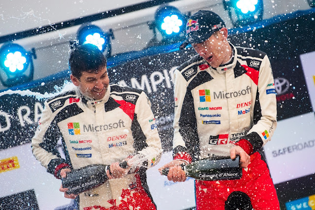 Elfyn Evans and Scott Martin Celebrate a win in Swedish Rally