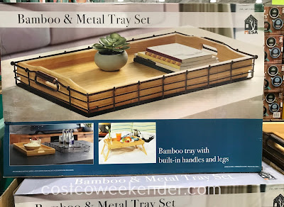 Easily serve breakfast in bed with the Mesa Bamboo and Metal Tray Set