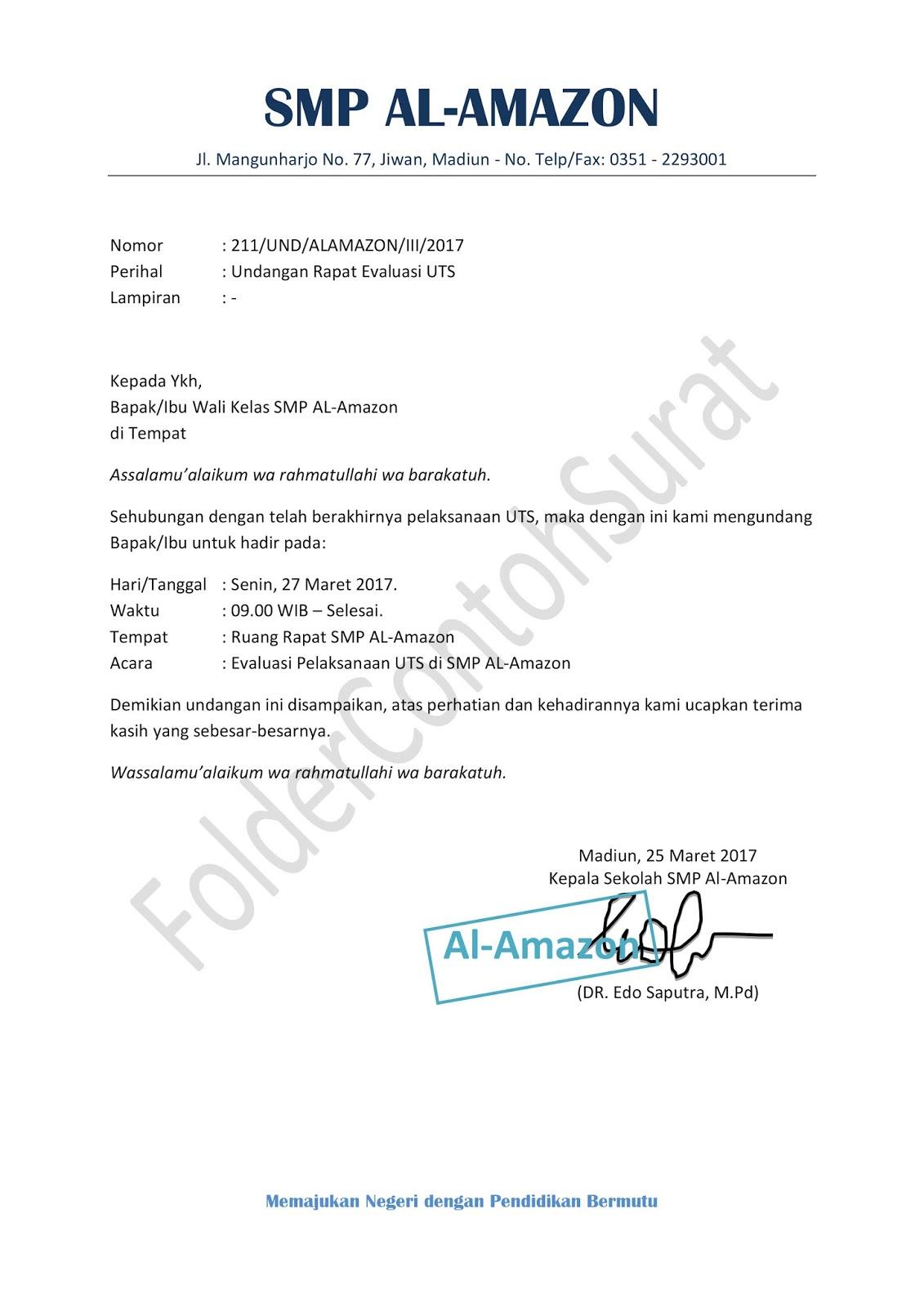 Contoh Surat Undangan Rapat Resmi Yang Baik Folder Contoh Surat