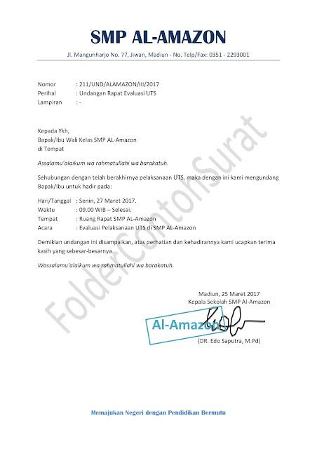 surat undangan rapat wali kelas di sekolah
