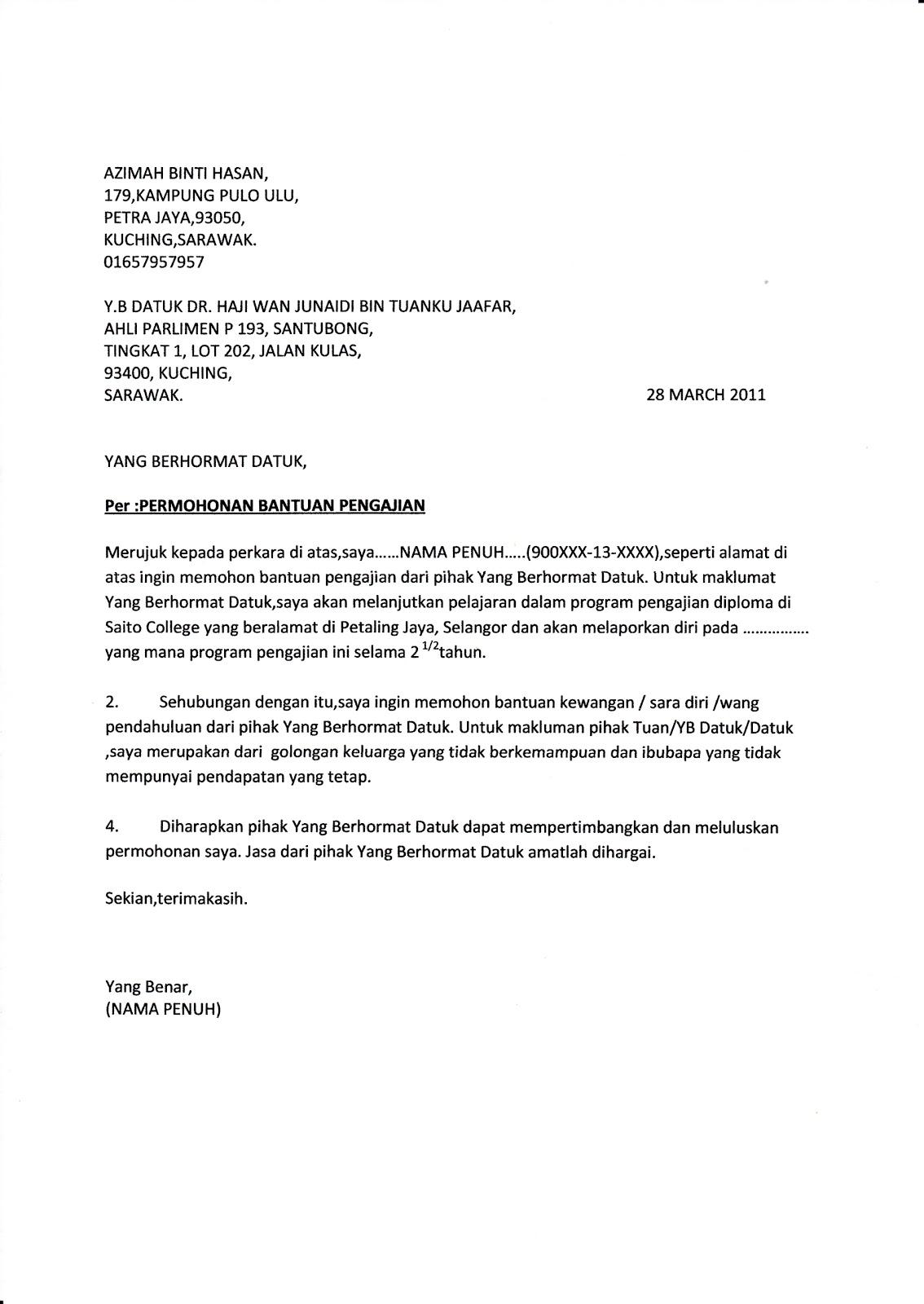 contoh surat rayuan memohon zakat