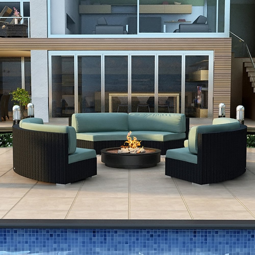 Modern Wicker Sectional Outdoor Sofa Sets: Curved Outdoor Sofa