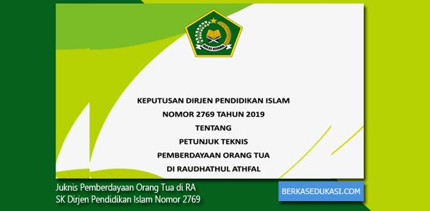Juknis Pemberdayaan Orang Tua di RA SK Dirjen Pendidikan Islam Nomor 2769