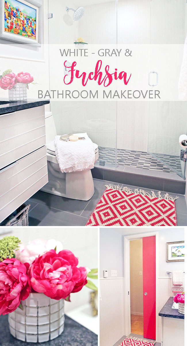 white, gray bathroom with fuchsia accents