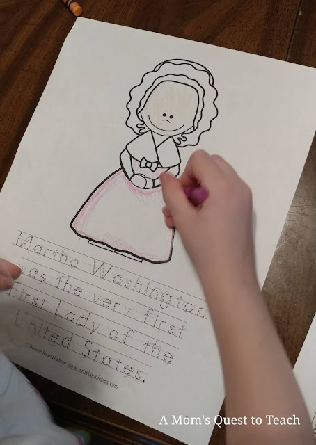 coloring picture of Martha Washington with handwriting text