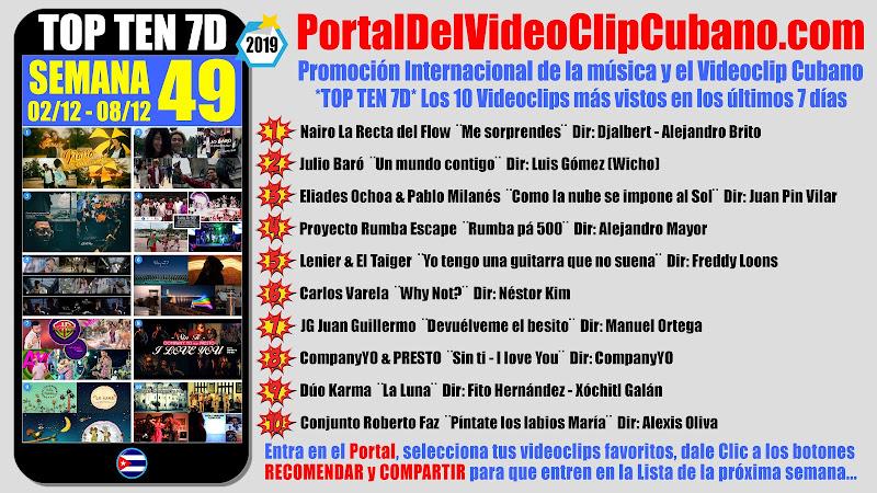 Artistas ganadores del * TOP TEN 7D * con los 10 Videoclips más vistos en la semana 49 (02/12 a 08/12 de 2019) en el Portal Del Vídeo Clip Cubano