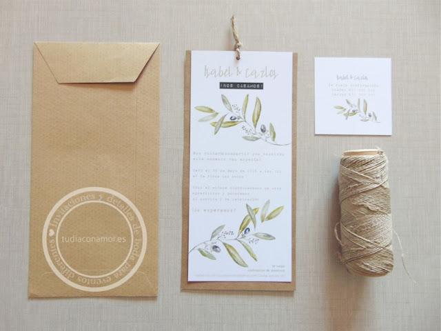 Invitaciones de estilo rústico en papel kraft y cuerda