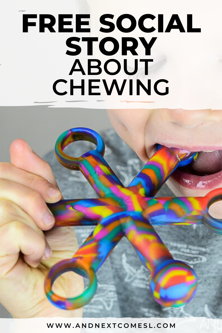 Free printable social story for kids with autism about chewing