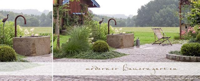 Ideen zur Bepflanzung eines Bauerngartens - Granitbrunnen und Pflaster,- Landhausgarten - Bauergartenpflanzen - Ideen, Beispiele und Bilder