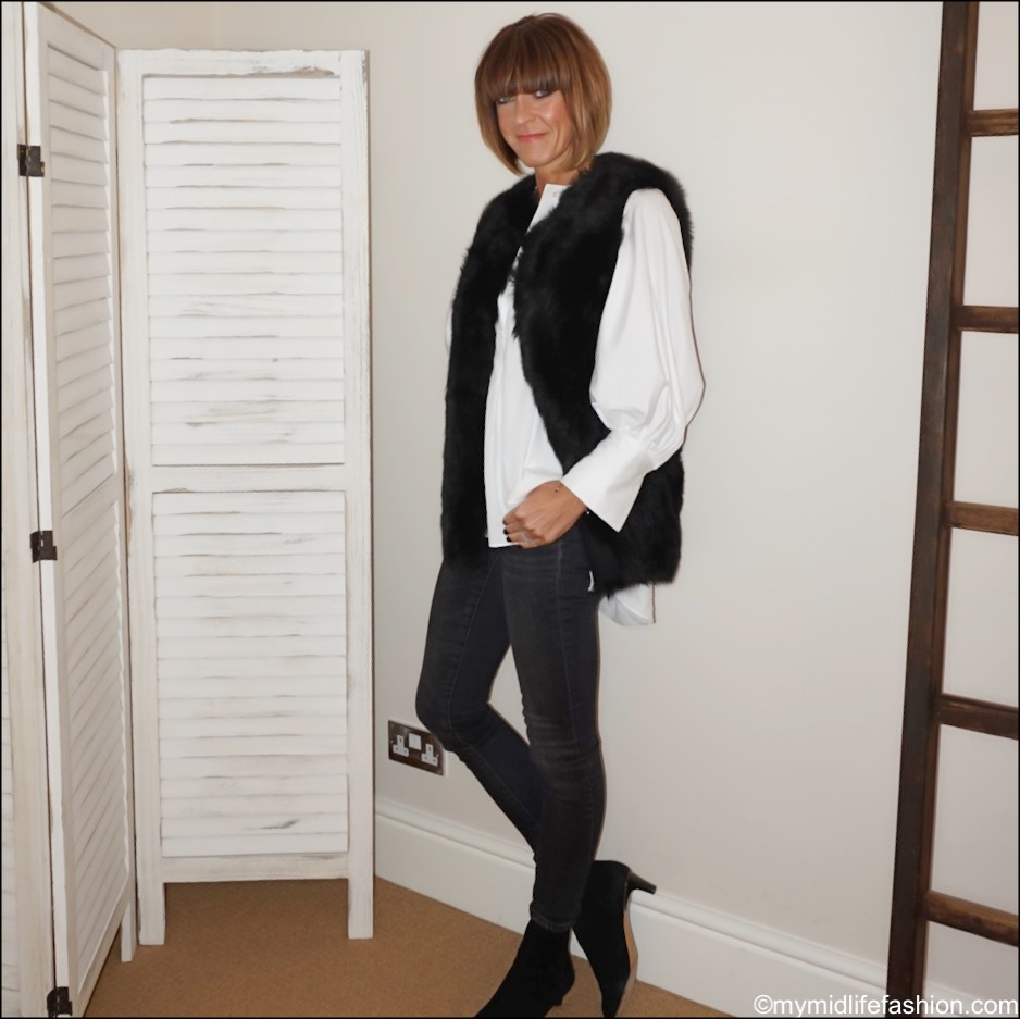 my midlife fashion, the white company sheepskin gilet, uterque puff sleeve blouse, j crew skinny toothpick jeans, Isabel Marant goat ankle boots
