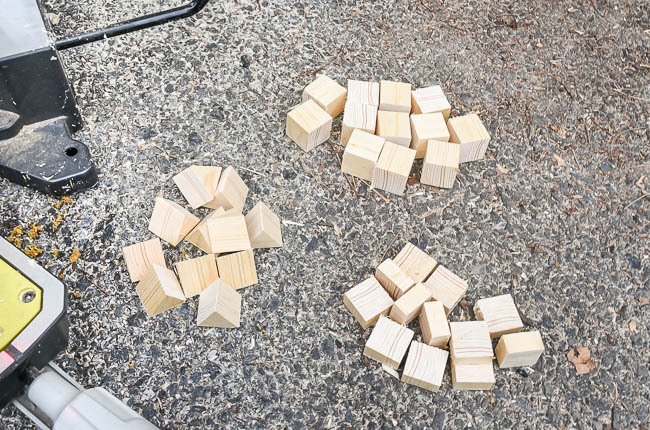 Cut wood pieces from square dowel